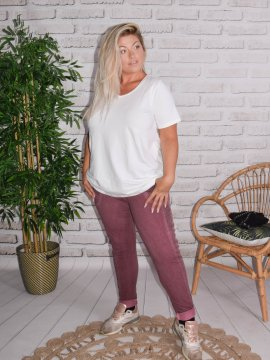 Berlin, pantalon sportswear, Lagenlook aubergine face