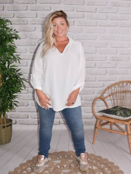 Alex, chemise fluide, Lagenlook blanc 7874