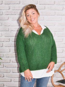 Amandine, pull grande taille vert