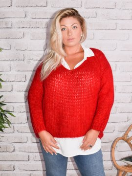 Amandine, pull grande taille rouge 78897