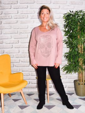 Zouzou, teeshirt coton skull, manches longues, grandes tailles, Lagenlook rose face