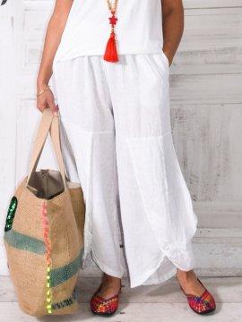 Pantalon en lin, modèle Moscou, marque Lagenlook  blanc zoom