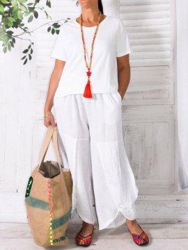 Pantalon en lin, modèle Moscou, marque Lagenlook blanc avant