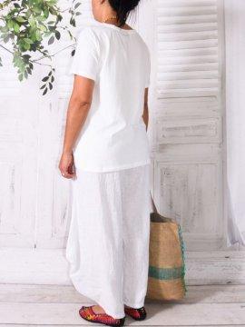 Pantalon en lin, modèle Moscou, marque Lagenlook blanc dos