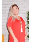 Yvanna, robe viscose, grande taille rouge zoom profil