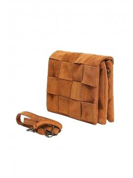 Dounia, sac pochette en cuir de vachette Cherry camel face