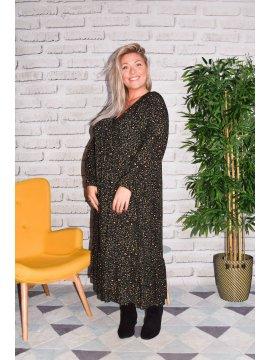 Jungle, longue robe bohème C'Melodie noir profil