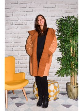 Québec, manteau suédine grande taille camel