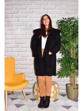 Québec, manteau suédine grande taille noir face