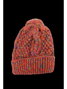 Bonnet chiné pompon rouge devant