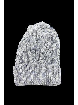 Bonnet chiné pompon gris