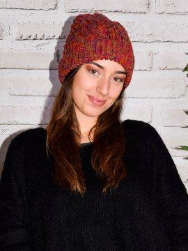 Bonnet chiné pompon rouge face