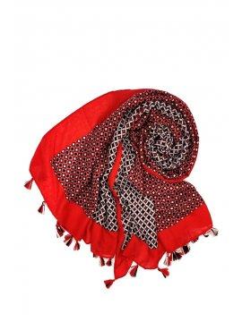 Foulard imprimé pompons rouge rond