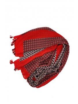 Foulard imprimé pompons rouge plat