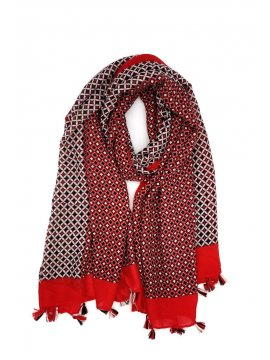 Foulard imprimé pompons rouge noeud