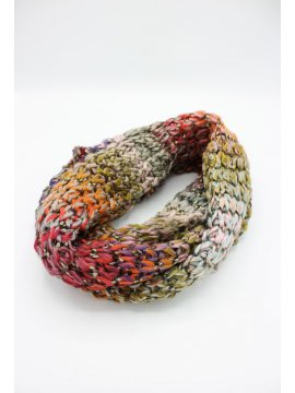 Snood maille rond rouge
