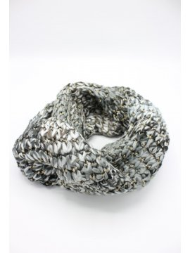 Snood maille rond gris