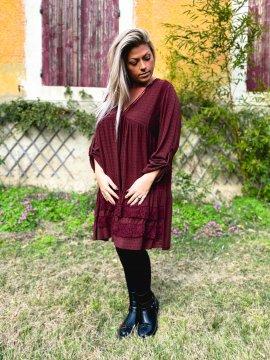 Bruges, robe dentelle bohème grande taille bordeaux avant
