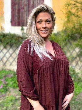 Bruges, robe dentelle bohème grande taille bordeaux zoom 2