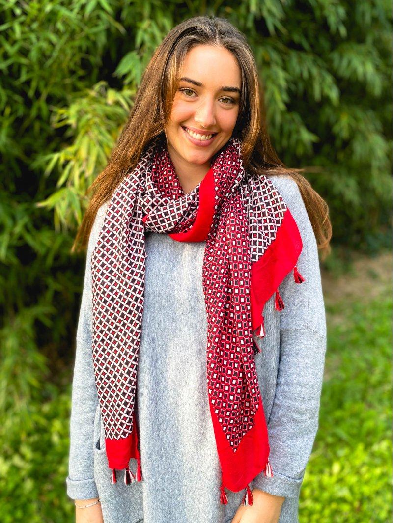 Foulard imprimé pompons rouge coté
