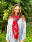 Foulard imprimé pompons rouge profil