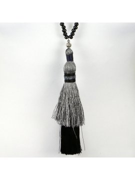 Sautoir perles et Bouddha noir zoom