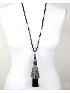 Sautoir perles et Bouddha noir