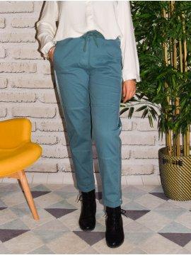 Pantalon décontracté grande taille bleu canard face