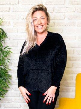Stephanie pull duveteux grande taille noir zoom