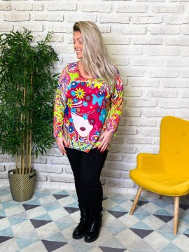 Pull tunique Betty pop grande taille profil