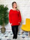 Pull tunique Estelle grande taille rouge profil