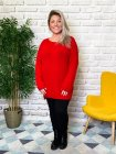 Pull tunique Estelle grande taille rouge face