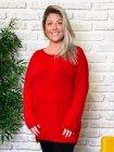 Pull tunique Estelle grande taille rouge zoom