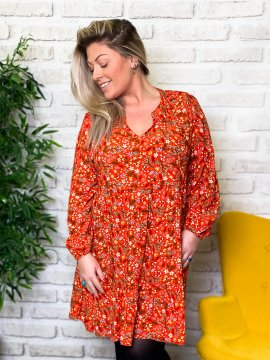 Bérénice robe grande taille imprimé fleuri rouge zoom