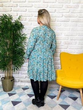Bérénice robe grande taille imprimé fleuri verte dos
