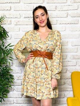 Bérénice robe grande taille imprimé fleuri jaune zoom