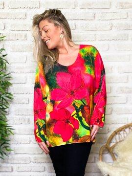 Betty fleurs pull tunique grande taille zoom