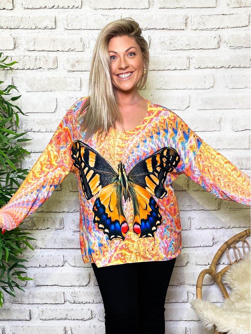Betty papillon pull tunique grande taille zoom