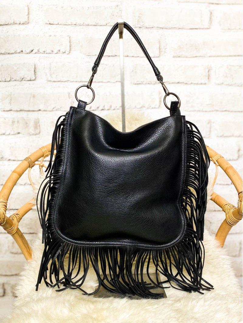 Shana, grand sac orné de franges noir