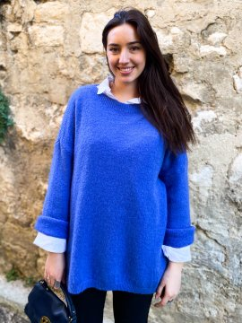 Pull tunique Estelle grande taille bleu zoom