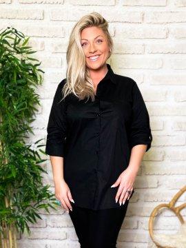 Myriam chemise grande taille coton noir zoom