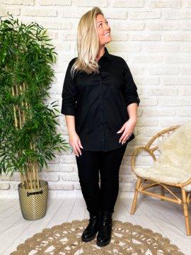 Myriam chemise grande taille coton noir profil