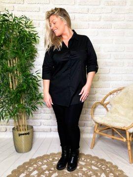 Myriam chemise grande taille coton noir face