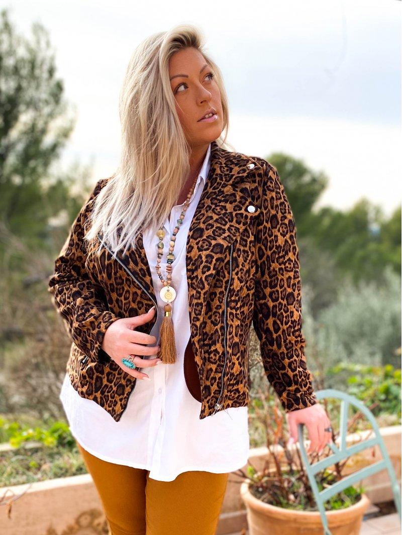 Perfecto imprimé léopard grande taille cuivre extérieur zoom