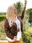 Perfecto imprimé léopard grande taille cuivre extérieur profil