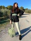 Myriam chemise grande taille coton noir extérieur profil