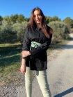 Myriam chemise grande taille coton noir extérieur face