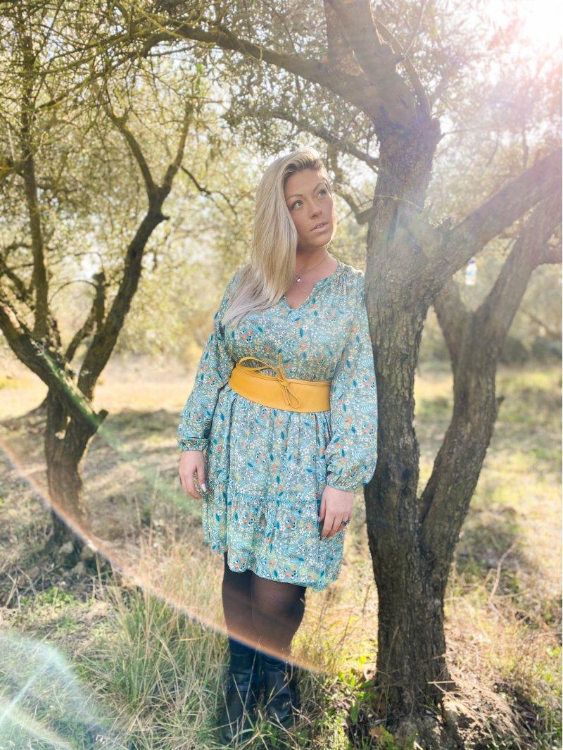 Bérénice robe grande taille imprimé fleuri verte extérieure profil