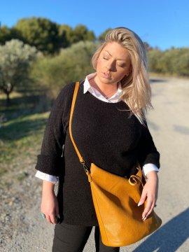 Pull tunique Estelle grande taille noir zoom