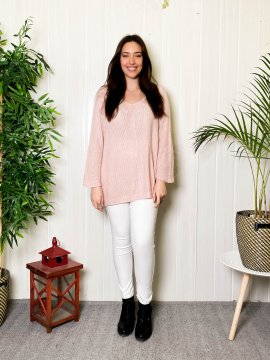Pull fin grande taille shiny rose pale face